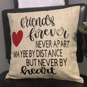 Friends Forever Quote Throw Pillow Case